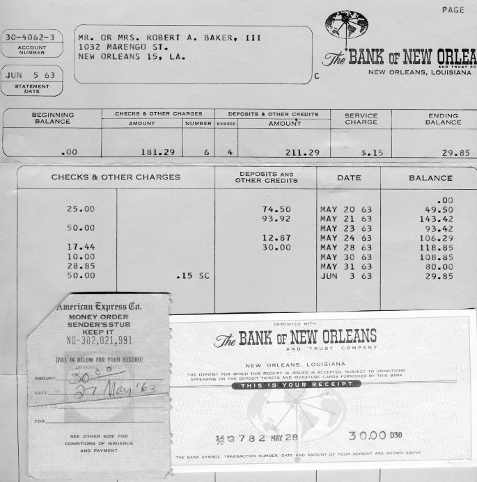 JVB Esay Attachment A -- My 1963 bank statement and AMERICAN EXPRESS money order